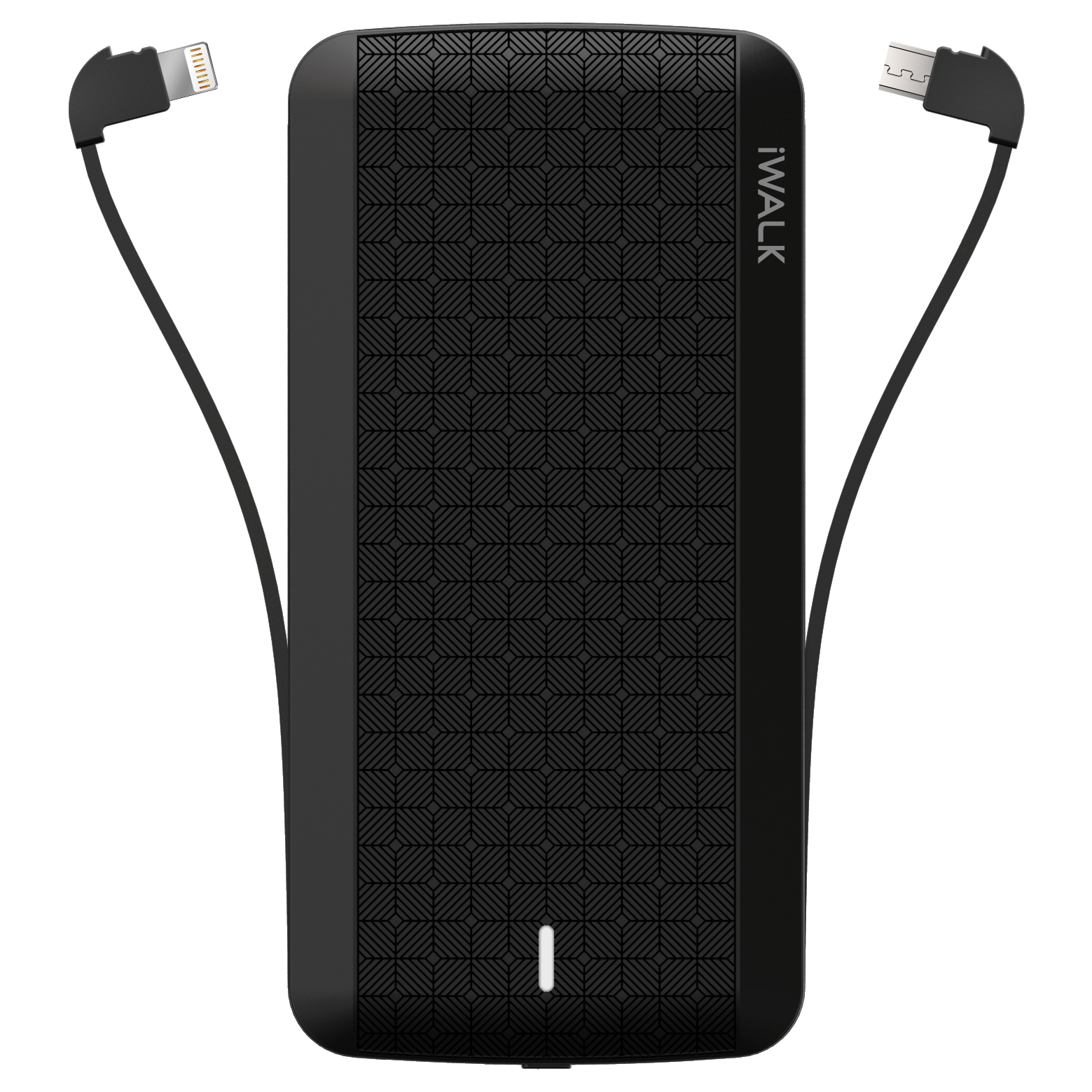 Black Powerbank with Lightning and Micro-USB cables
