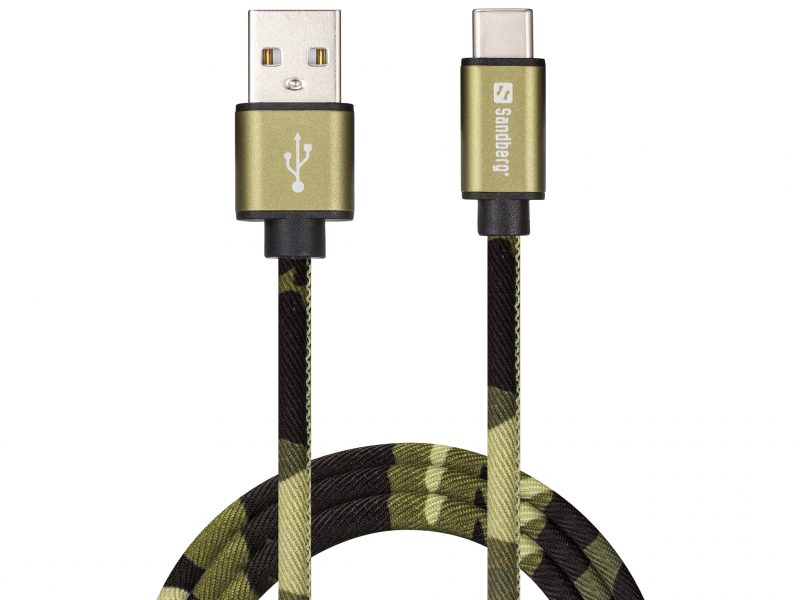 Green Camouflage Sync and Charge USB-C Cable 1m